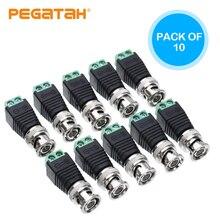 Conectores bnc diy para câmera de vídeo de vigilância cctv coaxial/cat5/cat6 cabos