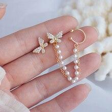 Micro-inlaid Butterfly Wings, Zircon And Pearl Chain Rear Hanging Ears Earrings For Women Wholesale Korean Stud Earring Jewelry