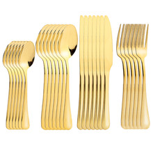 24 Pcs/set Stainless Steel Cutlery Dinnerware Golden Table Cutlery 24 Pieces Kitchen Tableware Spoons Forks