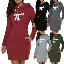 2019 New Women Printed Hoodie Dress Slim Warm Long Sleeve Casual Sweatshirts
