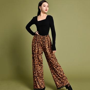 Latin Dance Dress Leotard Loose Leopard Print Pants Adults Practice Clothes Tango Cha Cha Rumba Samba Salsa Costumes DNV12433