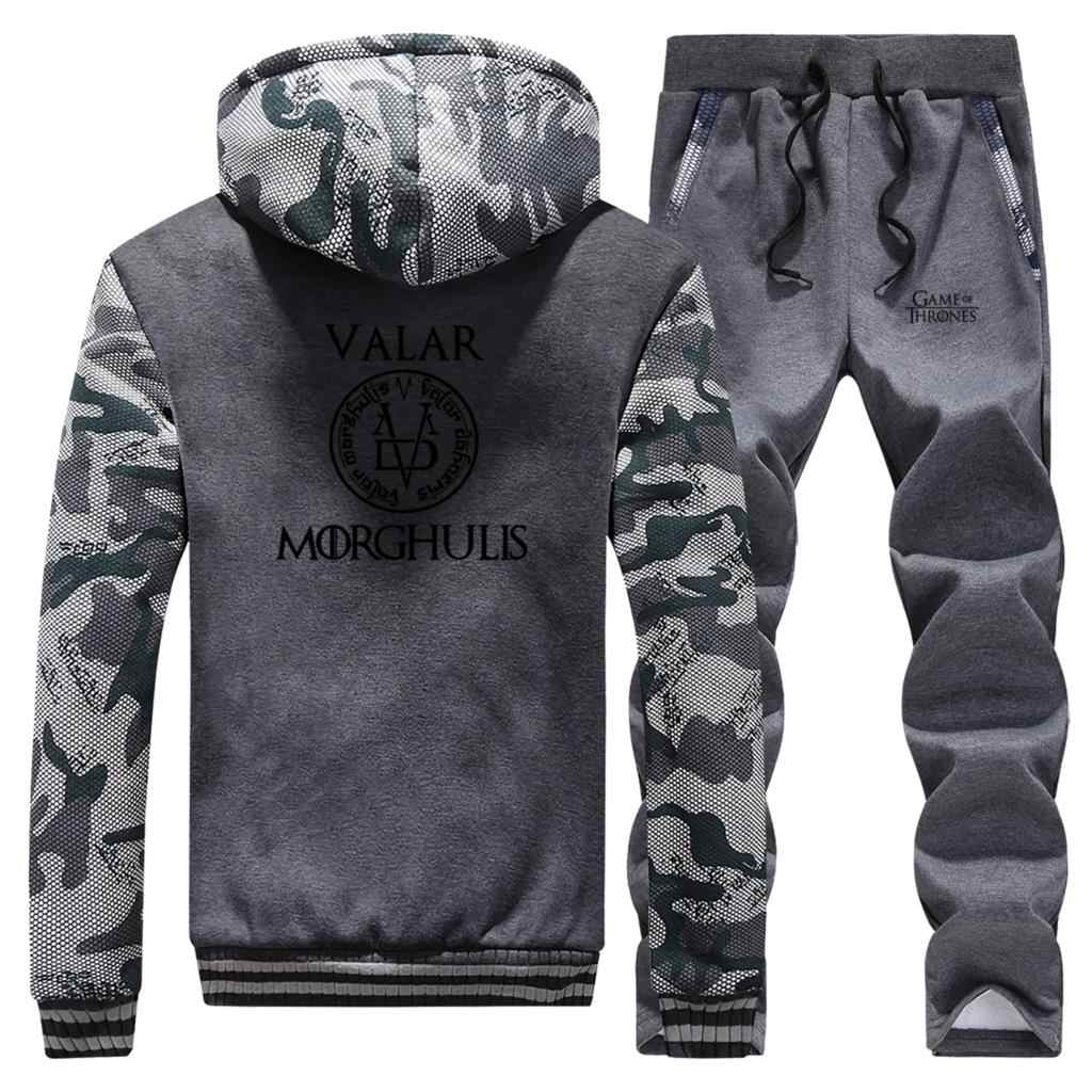 Valar Morghulis Mode Camo Jacke Spiel Der Thrones 2 Stück Set Mode Herren Sets Komplette Mann Trainingsanzug Fleece Arya Stark hosen