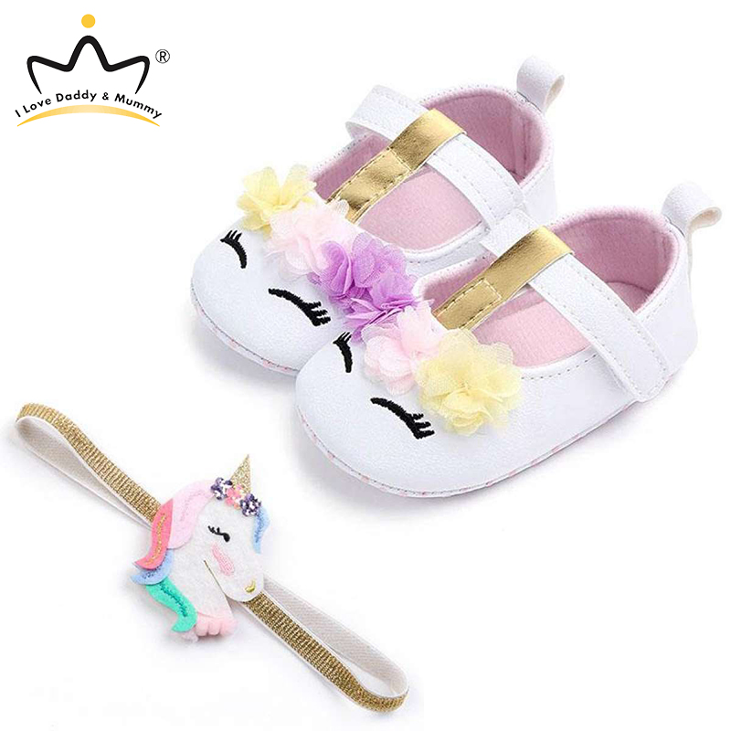 New Cute Unicorn Flower Newborn Baby Shoes Headband Set Soft Soled Anti Slip Todder Baby Girl Shoes Todder Shoes Girls Princess