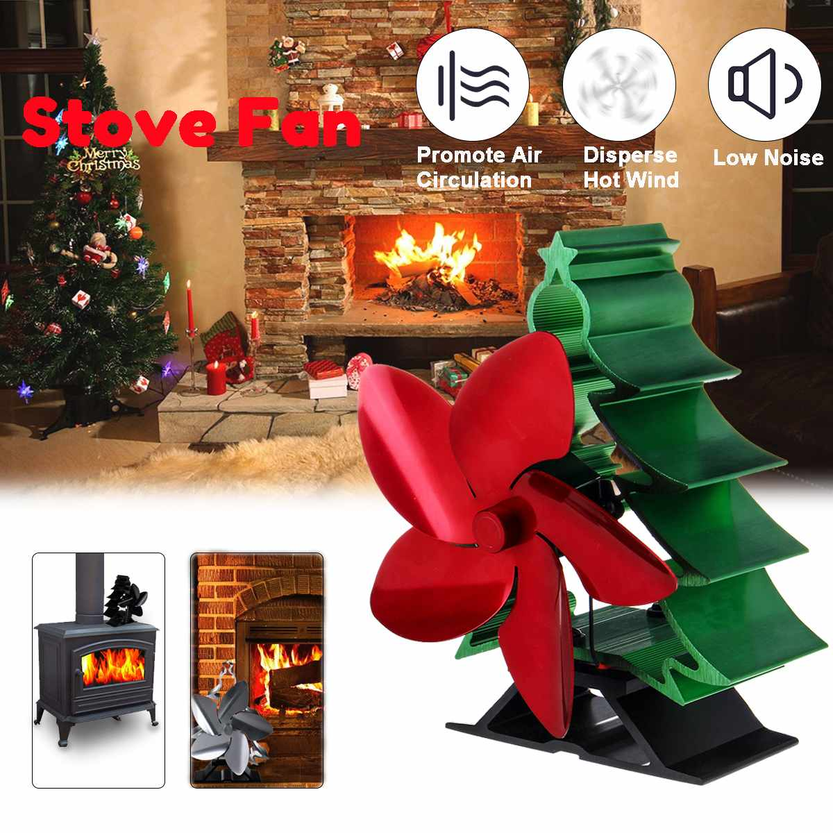180CFM 5 Blade Home Fireplace Heat Powered Stove Fan Komin Log Wood Burner Eco Friendly Christmas Tree Shape Heat Distribution