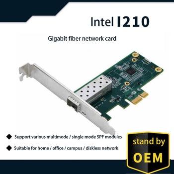Intel I210 chipset PCIe Gigabit fiber network LAN card 10/100 / 1000Mbps PCIe Gigabit 1000M single SFP fiber network LAN card цена 2017