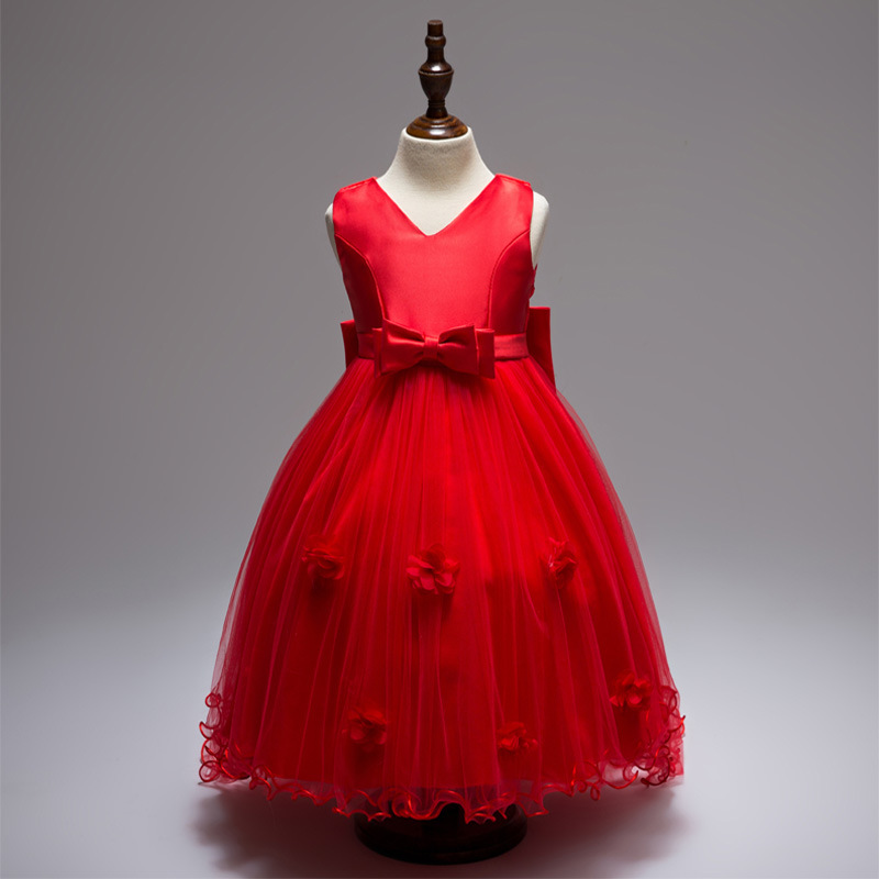 2019 Children Sleeveless V-neck Tailing Wedding Dress Flower Soft Gauze Princess Skirt Large Bow Dress Cotton
