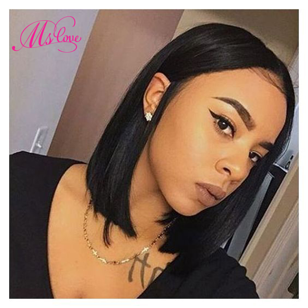 Short Human Hair Wigs Straight Bob Lace Wig With Baby Hair 11x2 Inch #2 #4 Brown Lace Brazilian Wig For Black Women Non Remy