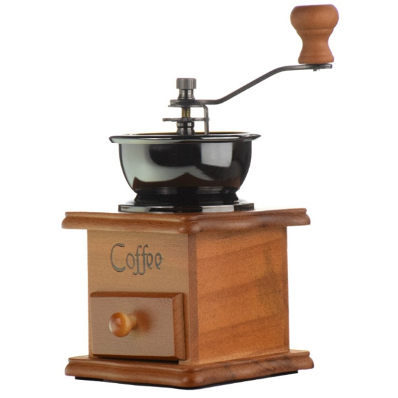 Retro Wooden Box Hand-Cranked Ceramic Heart-Grinding Grinder Hand-Pushed Coffee Bean Grinder Coffee Mill