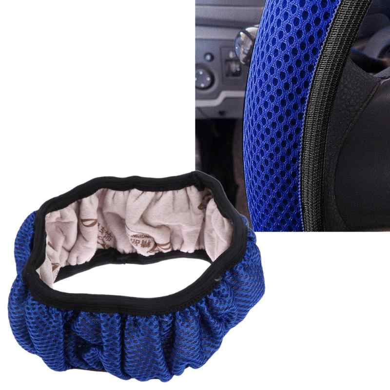 38cm Automobiles Steering-Wheel Covers Handbrake 3D Nylon Fabric Mesh Net Non-Slip Steering Wheel Cover Protector Auto Accessory