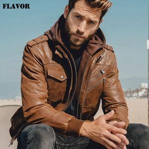 Image 3 - Mens Real Leather Jacket Men Motorcycle Removable Hood winter coat Men Warm Genuine Leather Jackets