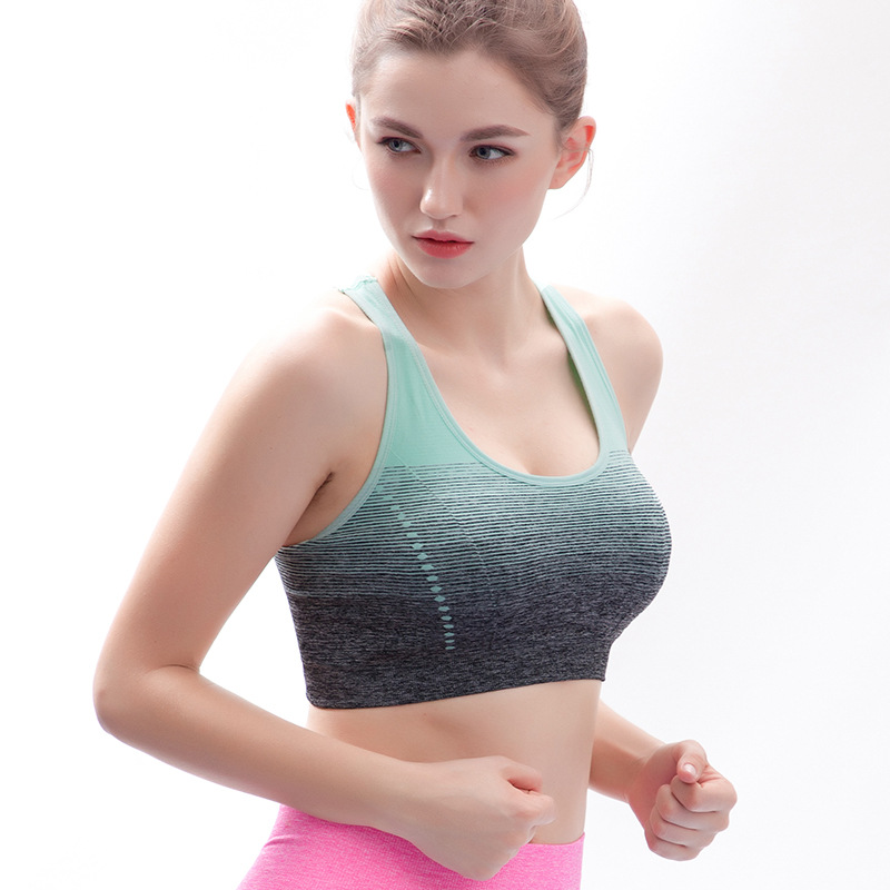 Sports Bra High Stretch Breathable Top Fitness Women Padded for Running Yoga Gym Seamless Crop Bra Gradient Sport Bra