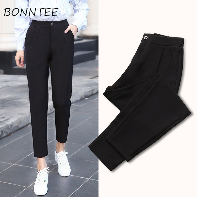 Pants Chiffon Solid High Waist Single Button Pockets Women Chic Elegant Trousers Korean Womens Summer Thin All-match Students