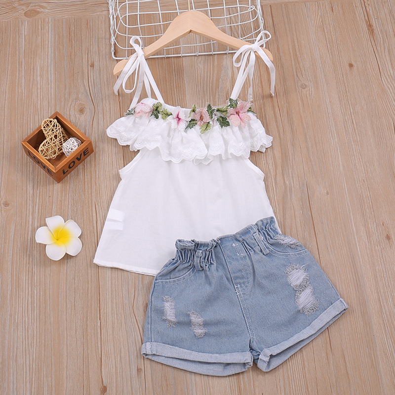 Baby Girls Clothes Set Ruffles Newborn Children Tops + Pants Fashion Cotton Toddler Kids Clothing Sleeveless Summer Ripped Jeans 1