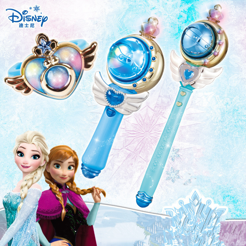Genuine Disney Frozen Elsa Magic Set Princess Magic Wand Magic Bracelet Toy Music Light Toys For  Girls The Best Birthday Gift
