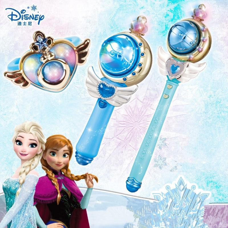 Genuine Disney Frozen Elsa Magic Set Princess Magic Wand Magic Bracelet Toy Music Light Toys For  Girls The Best Birthday Gift