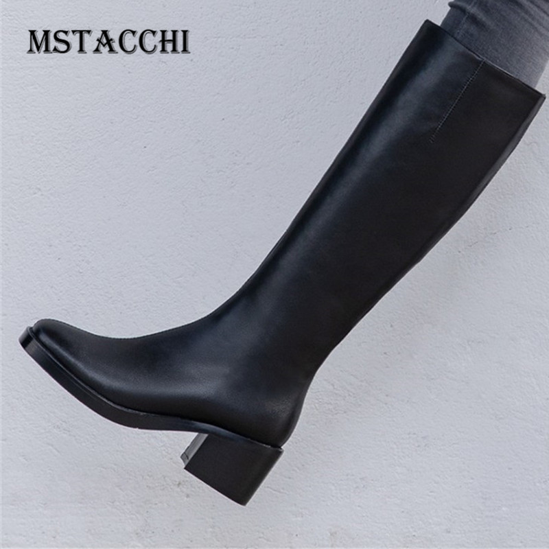 MStacchi 2020new Chelsea Boots Women Round Toe Mid Heel Waterproof Scarpe Donna Female Genuine Leather Platform Motorcycle Boots image