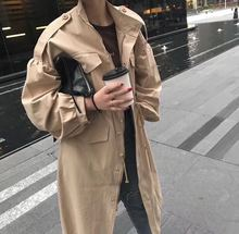 2019 Spring Autumn Zipper Korean Style Drawstring Wasit Trench Coat Solid Color Long Sleeve Elegant Female Straight Windbreaker