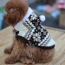 New Dog Jacket Coat Pet Coral Hoodie Winter Fleece Snowflake Print Puppy Clothes Z