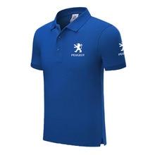 Высокое качество летние новые мужские рубашки поло с коротким рукавом одноцветная Мужская рубашка поло peugeot мужские топы