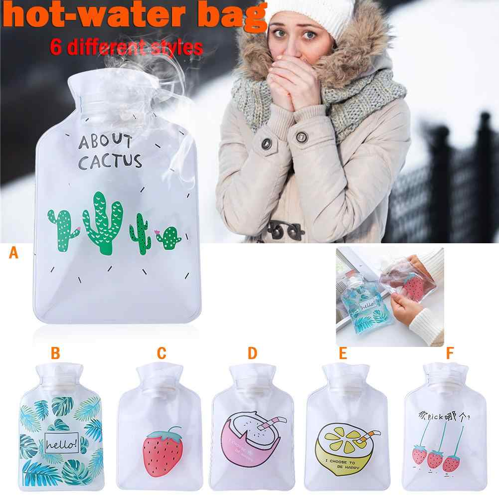 Small Transparent Hot Water Bottle Cartoon Simple Winter Warm Water Bag Student Portable Mini Water Warm Hand Treasure