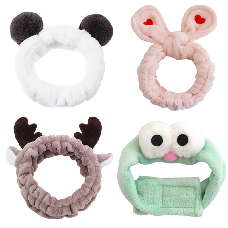 2020 Latest Trends Elastic Hair Bands Girls Wash Face Turban Cute Ears Women Makeup  Active Cartoon Crab Hair Accessories