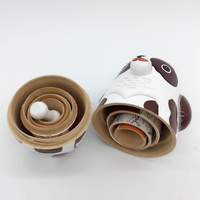 5Pcs/Set Hand Painted Dotted Dog Animal Nesting Dolls Matryoshka Puzzles Assembly Model Figurines Toys 6
