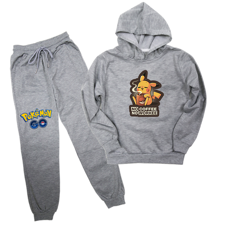 Spring Autumn Hooded Sets Pokemon Print Children Sweater Toddler Boys Girls Clothes Sets Cotton Suit 2pcs Hoodies+pants Outfits image