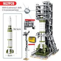 China Aerospace Satellite Sounding rocket Launch Umbilical Tower Building Blocks Kit Bricks Classic Model Kids Toy For Children