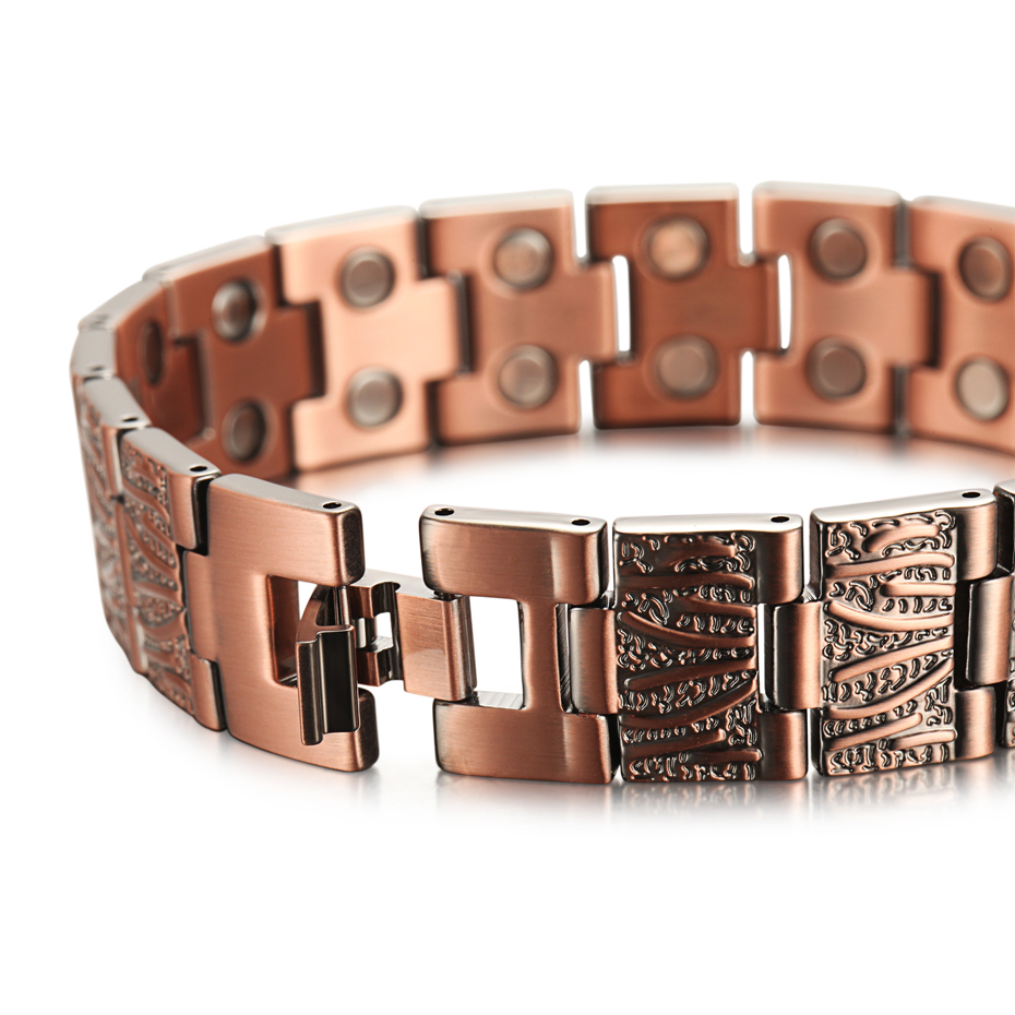 Vintage Pure Copper Magnetic Pain Relief Bracelet for Men Therapy Double Row Magnets Link Chain Men Jewelry