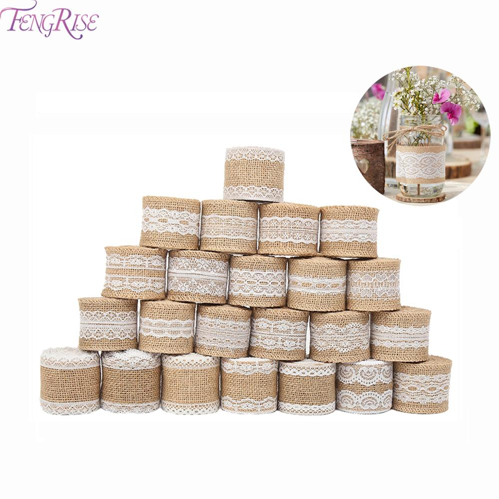 FENGRISE 2m Jute Burlap Ribbon Rustic Wedding Decoration Lace Hessian Vintage Wedding Centerpieces Table Decor Party Supplies