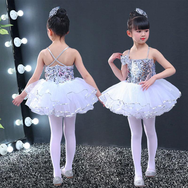 Costumes Girls Jazz Modern Dancing Costumes Yellow Pink Sequins Top Girls Dance Kids Ballerina Dress Silver Dance Wear Child 160