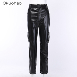 High Waist Black Faux Leather Pants Lady fashion Sexy straight pants Loose Pencil Trousers Elegant Pocket tooling Streetwear