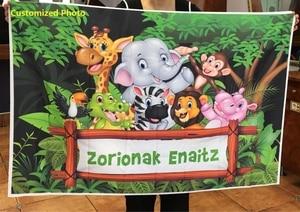 Image 4 - Tło do zdjęć dżungla Safari urodziny spersonalizowany plakat Baby Shower Cartoon zdjęcie dziecka tło Photocall Photo Studio