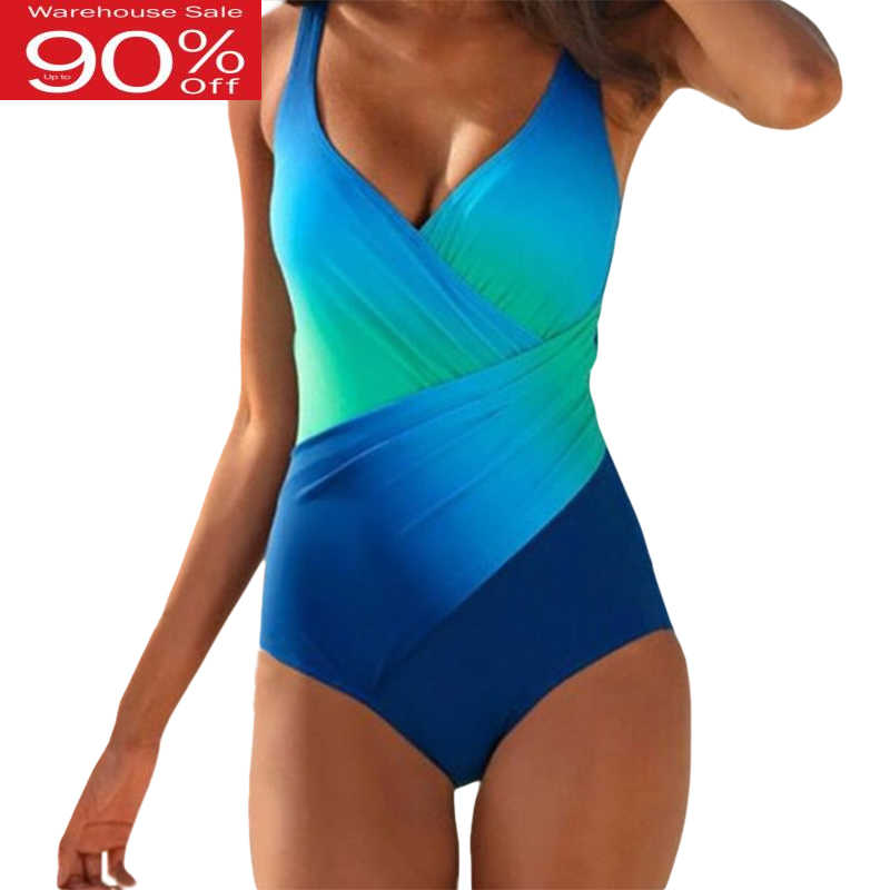 שיפוע לדחוף את בגד ים חתיכה אחת נשים בתוספת גודל M-4XL בגדי ים סקסי אישה גבוהה מותן Monokini ספורט בגד גוף חליפת שחייה