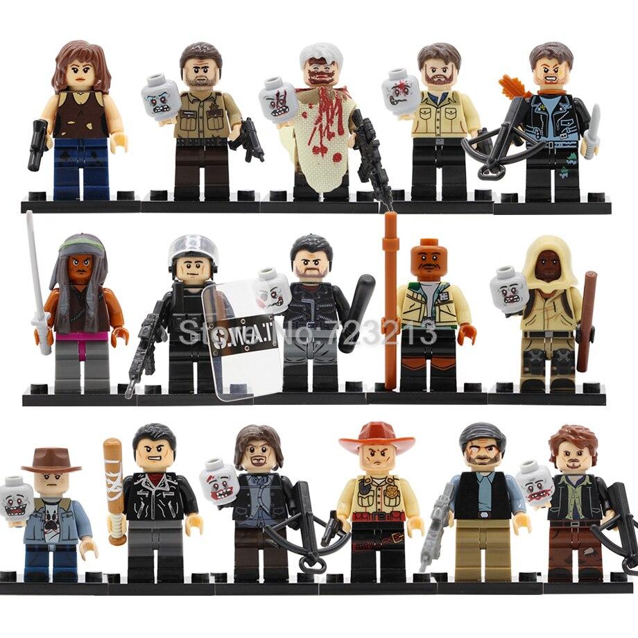 Single Walking Corpse Dead Figure Rick Grimes Michonne Negan Daryl Dixon Morgan Jones Maggie Building Block Set Toy Legoing