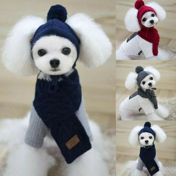 2Pcs Cute Pets Clothes Set Knitted Cap+Scarves Winter Warm Pet Hat Shawl Dogs Hats Products Funny Sets Harmonious Life