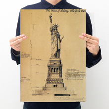 Room decoration Statue of Liberty sketch paper kraft paper retro art wall sticker newspaper home bar cafe decoration painting