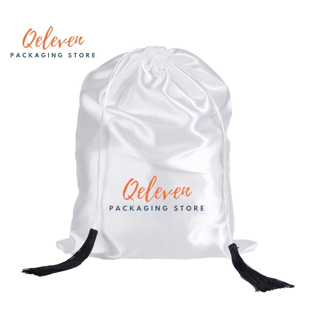 Sac cadeau d'impression personnalisée avec glands femmes Extensions de cheveux vierges emballage sacs en soie Satin, cheveux perruque paquets chaussures sac d'emballage