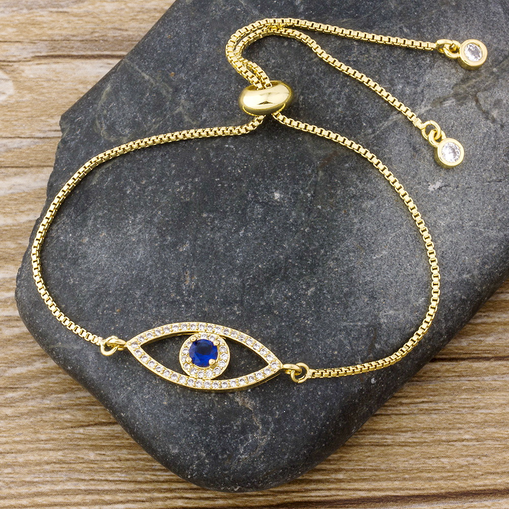 Luxury  Classic Evil Eye Charm Bracelet for Women Shiny Princess Cut Cubic Zircon CZ Adjustable Bangles Copper Jewelry Gift