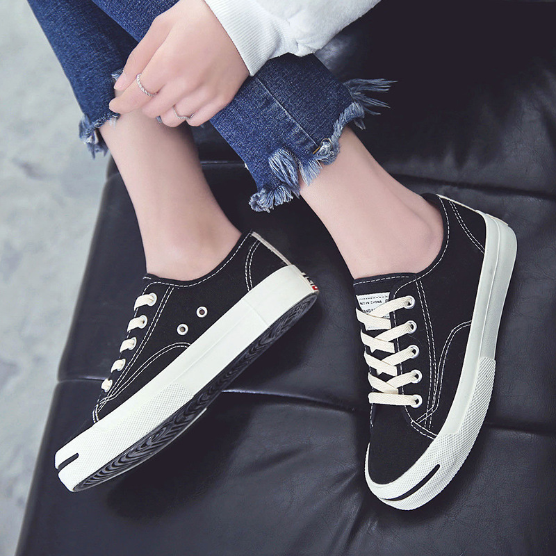 White Woman Casual Shoes 2019 Spring Autumn Female Canvas Shoes Thick Bottom Lace Up Ladies Flats Fashion High Quality Footwear