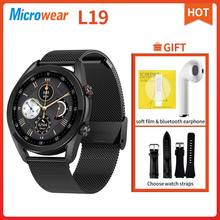 Microfones l19 relógio inteligente bluetooth chamada ecg ip68 à prova dip68 água pressão arterial freqüência cardíaca fitness rastreador smartwatch l13 l15 l16