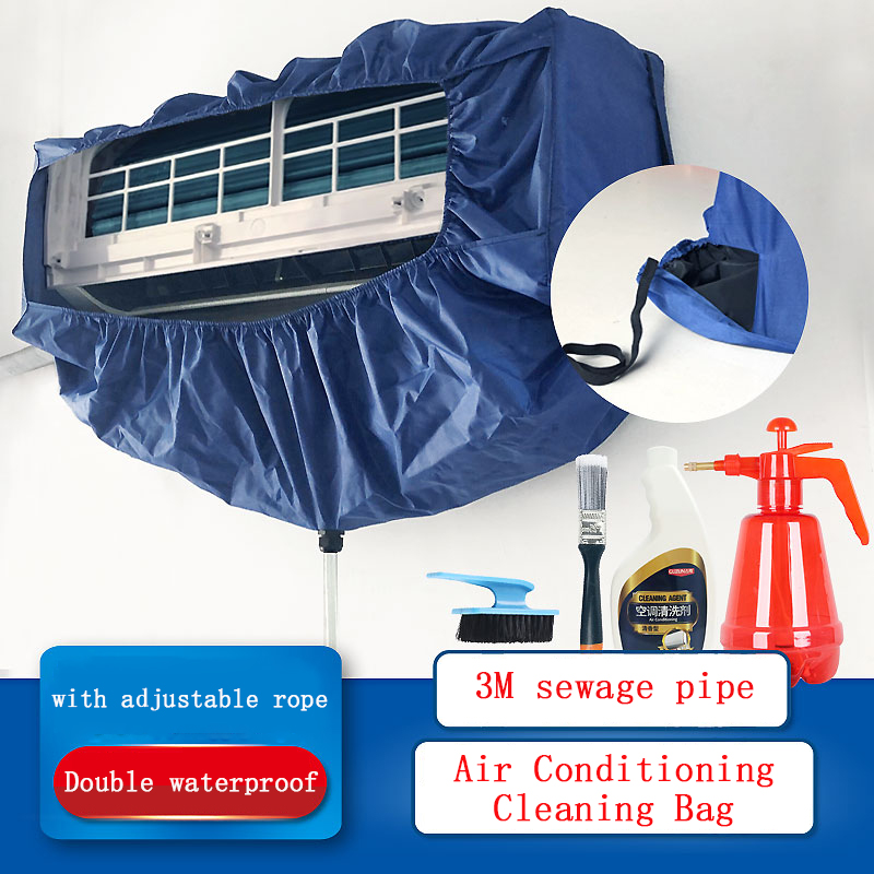 Air Conditioning Cover Washing Cover Wall Mounted Air Conditioner Cleaning Waterproof Protective Dust Cover WithTightening Belt