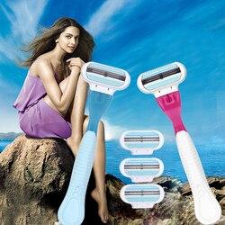 1 бритвенная ручка 4 бритвенные лезвия ручной бритья женские бритвы лезвие Бритва для волос безопасность Бритва для женщин голова