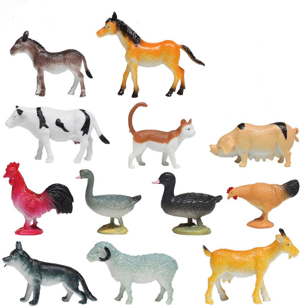 <font><b>12</b></font> PCS Farm Zoo animals models <font><b>figures</b></font> figurines toys plastic Simulation <font><b>horse</b></font> cat dog cow pig sheep Chicken duck Gift For Child image