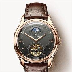 LOBINNI zegarek męski mewa automatyczny mechanizm mechaniczny luksusowa marka zegarki męskie faza księżyca Sapphire relogio L12025M w Zegarki mechaniczne od Zegarki na