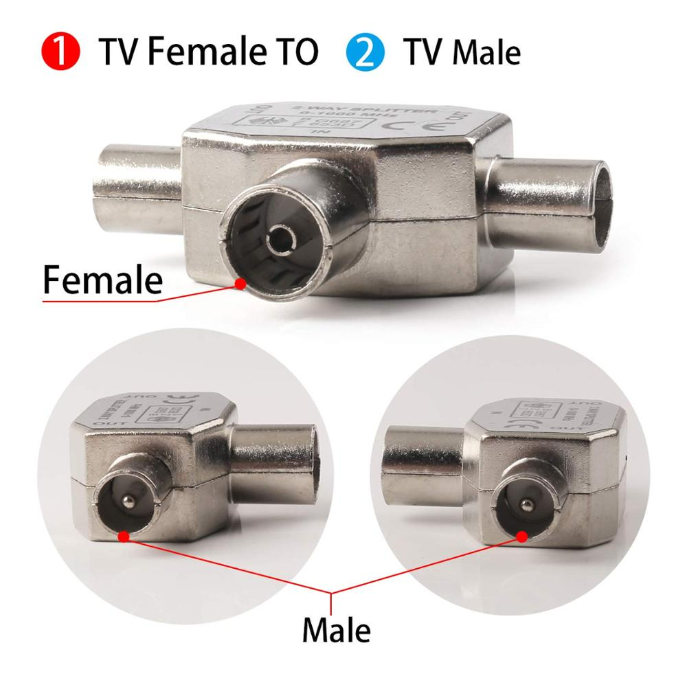 2 Way TV Aerial Splitter 1 Female To 2 Male Coaxial Digital Signal Antenna Splitter