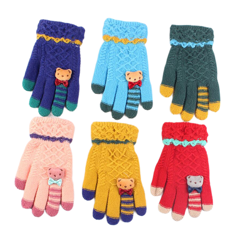 Winter Kids Gloves Warm Knitted Gloves Full Finger Thick Mittens With Bear Bow Cartoon 5-10-Year-Old Children Gloves
