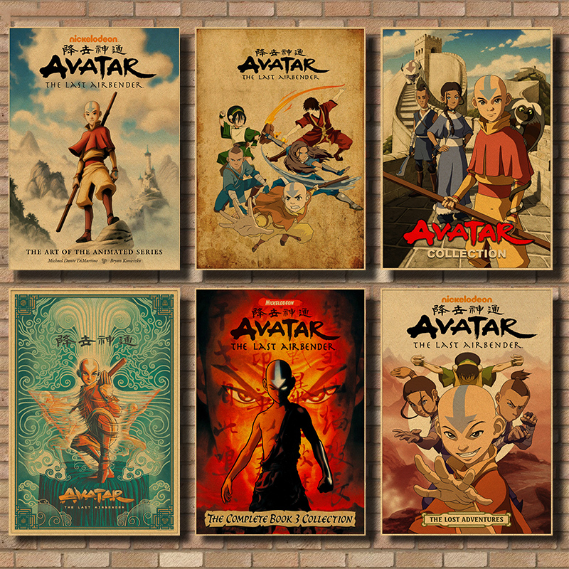 Vintage kraft paper Posters and Prints <font><b>Avatar</b></font> The Last Airbender <font><b>Aang</b></font> Fight Anime Poster Wall Art Picture Home Decor 42*30cm image