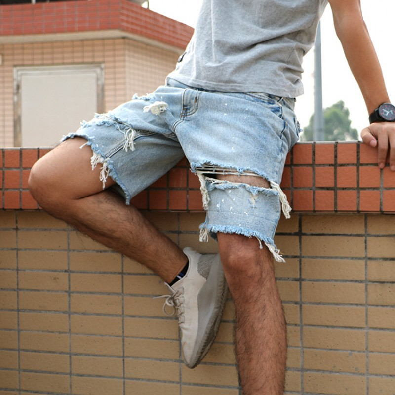 High Street Vintage Jeans Shorts Men Summer 2020 New Hole Ripped Shorts Homme Washed Straight Leg Cotton Short Pants Knee Length