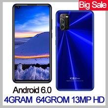 Teléfono Inteligente K20, Android, 4G RAM, pantalla grande de 6,72 pulgadas, identificación facial, desbloqueado, Quad Core, 2Sim, 64G ROM, cámara de 13.0mp, MTK6580